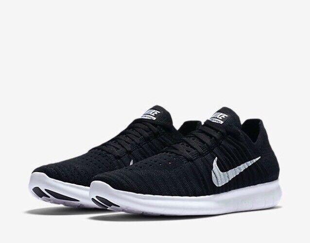 Nike Free RN Flyknit scarpa da Uk corsa 831070-001 Nero Bianco Uk da 5 EU 38.5 US 7.5 NUOVE bbe4d5