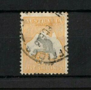 1932-Australia-5-grey-yellow-Roo-CofA-wmk-SG-135-gum-toning-Good-Used-stamp