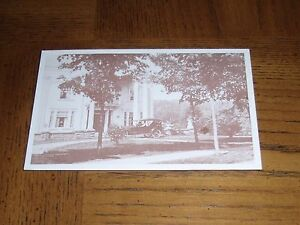 RARE-UNUSUAL-OLD-PERSONAL-POSTCARD-PICTURE-OF-HOUSE-amp-OLD-CAR-FAMILY-IN-CAR