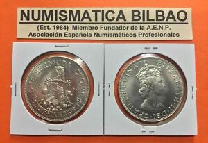 Bermuda-1-crown-1964-Elizabeth-II-amp-lion-silver-coin-km-14-uncirculated-silver
