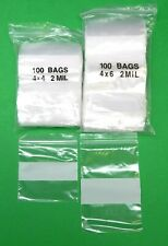 4 Zip Seal Lock Bags 2 Sizes White Block 100 Of Each 4 X 4 And 4 X 6 Bags