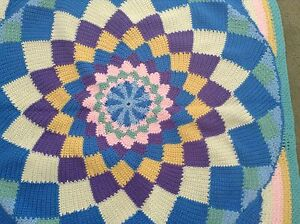 Handmade-Afghan-Pastel-Square-Knit-Wheelchair-Baby-Lap-40x40-Crochet-Throw-Circl