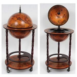 Image Is Loading NEW Nautical World Globe Hidden Wood Bar Table