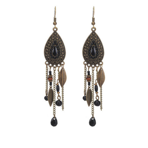 Style bohémien or Eau Noire Longue Chaîne Feuille Drop Dangle Crochet Boucles D/'oreilles S