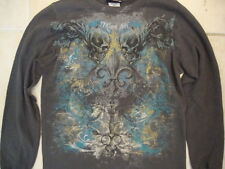 Miami Ink Tattoos Skull Artwork Thick Long-Sleeve Dark Gray Shirt M
