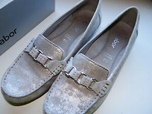 Details zu Gabor Mokassin NEU Gr. 40 6 12 Schuhe Damenschuh Slipper Grau Silber NEU