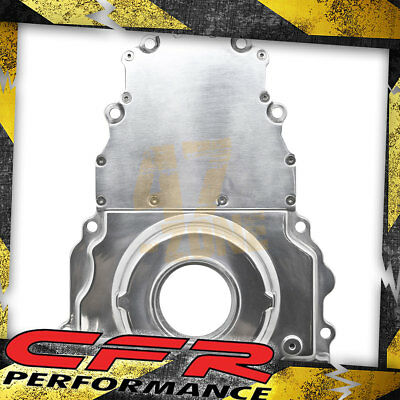 ALUMINUM CHEVY LS TWO PIECE TIMING CHAIN COVER W//O CAM SENSOR HOLE POLISHED
