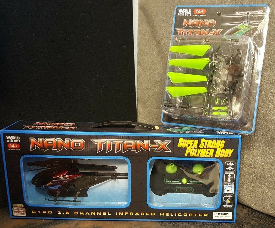 WORLD TECH TOYS NANO TITAN HELICOPTER remote control NIB, with replacement parts