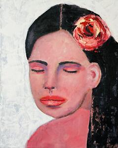 Original 8x10 Girl Bird Portrait Painting Rose Flower by Katie Jeanne Wood