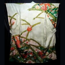 "Vintage Japanese Furisode Kimono Robe Woman's Formal Silk ""Arches"""