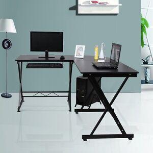 image is loading wood l shape corner computer desk pc laptop black home office laptop
