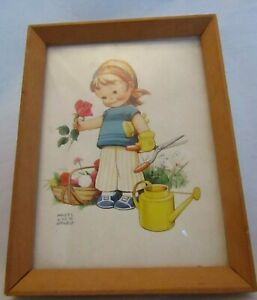MABEL-LUCIE-ATTWELL-FRAMED-PICTURE-GIRL-GARDENING-BASKET-SHEARS-WATERING-CAN