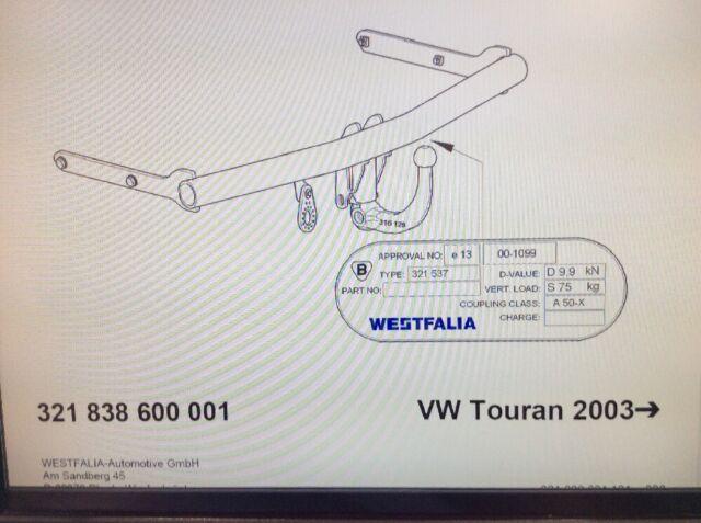 Detachable Tow Bar Westfalia Towbar for Volkswagen Touran 2003-2015