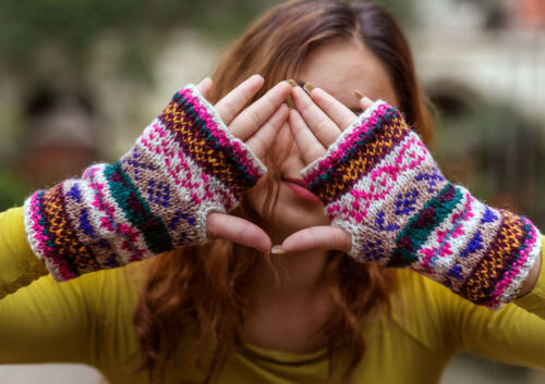 White Pink Multicolor Winter Hand Warmers-Texting Gloves WO61HW