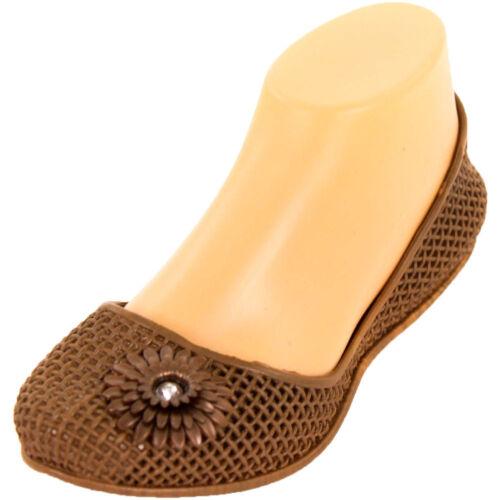 Womens Jelly Ballet Flats Jewel Flower Slip On Shoe Plastic Rubber Sandal Garden