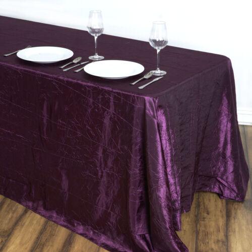"Eggplant Purple RECTANGLE 90x132/"" Crinkled Taffeta TABLECLOTH Wedding Party"