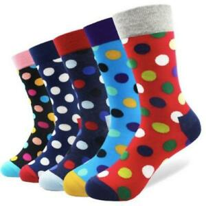 Mens-Crew-Socks-Funky-Dots-5-Pack-Sock-Set-Colourful-Happy-Funny-Cool-Crazy