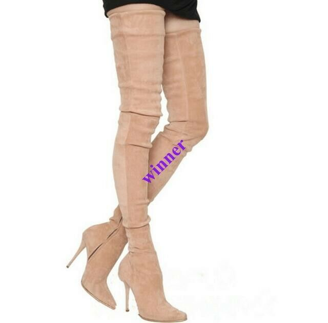 Women's Over The Knee Thigh Boot Stiletto High Heel Pull On Side Zip Pointed Toe