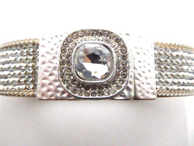 Silver Crystal Stone Leather Cuff Bracelet. New Stock. Boho. Festival Party