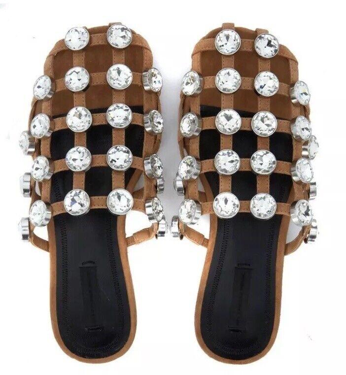 Bnwb  Alexander Wang Jewel Emellited Amilia Sandals.pantofole.sliders  4.  a buon mercato