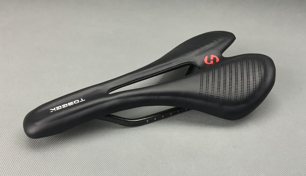 TOSEEK Carbon Leather saddles Mountain Bike road Racing Hollow  Seat Saddle 135g  100% authentic