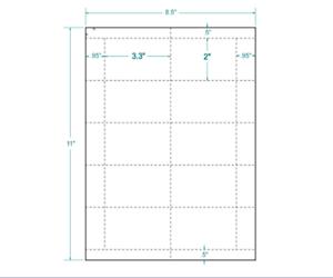 """3.3/"""" x 2/"""" White Postage Tray Tags 60# matte 410308 10//sheet"""