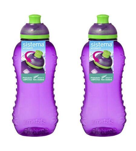 2 x Violet Sistema Squeeze boisson bouteille Twister 330 ml pour École Enfants BPA Free