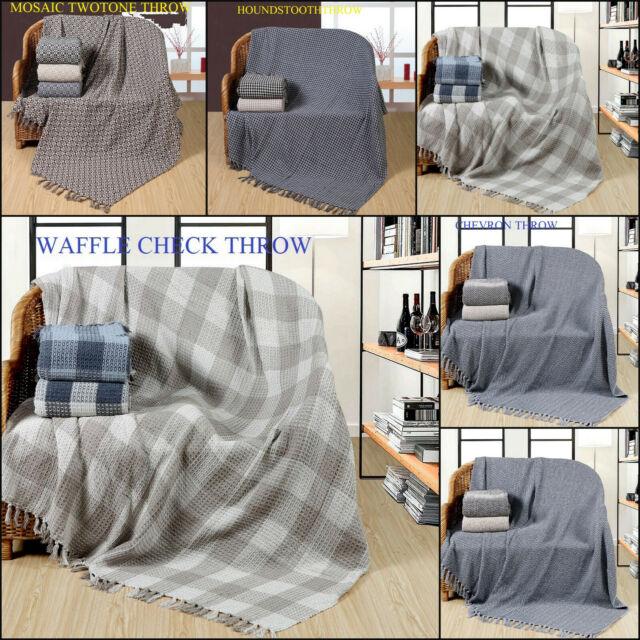 XL NATURAL  CHESSBOARD CHECK 100/% COTTON SOFA THROW BEDSPREAD 228x 254cm