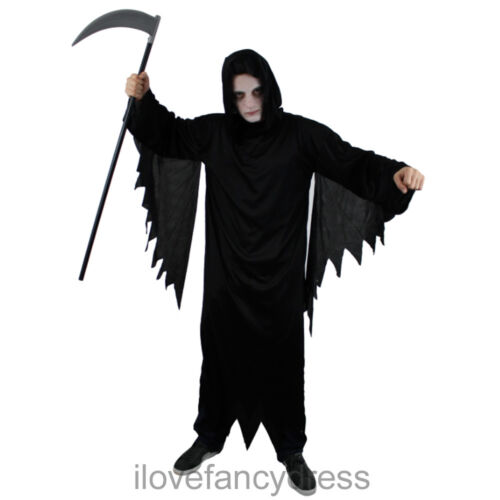 ADULT SCREAMER ROBE MENS DEATH GRIM REAPER COSTUME HOODED HALLOWEEN FANCY DRESS