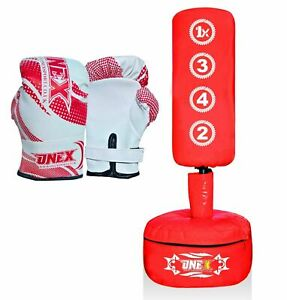 Pro Free Standing Punching Bag Kids//Junior Fitness MMA Martial Art Boxing Gloves
