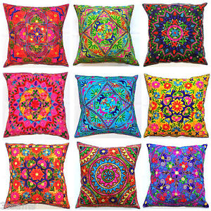 Large-Cushion-Cover-24x24-034-60cm-Indian-MultiColour-Embroidery-Tapestry-Floor-Zip