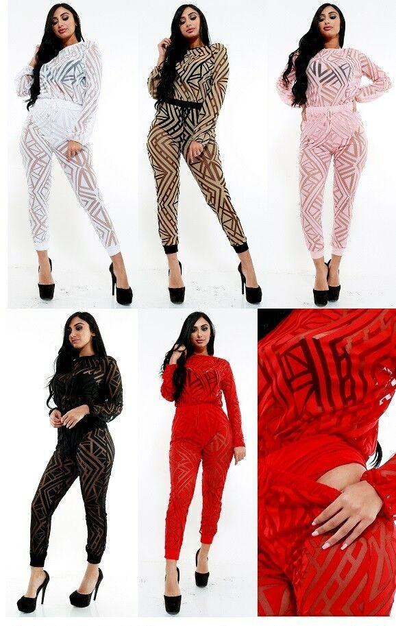 Plus Size Mesh Sheer Long Sleeve Bodysuit Jumper Mix & Match Pants Set 1X 2X 3X