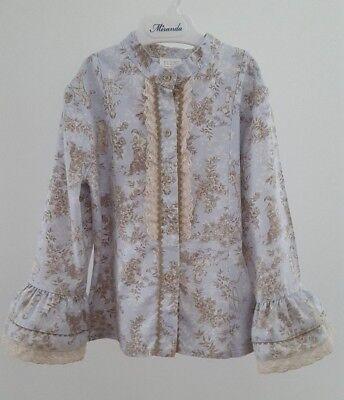 Competente Spagnolo Ragazze Manica Lunga Frill Camicia Blusa __ 5 Anni __ Romany Blue Angel A Fiori-mostra Il Titolo Originale