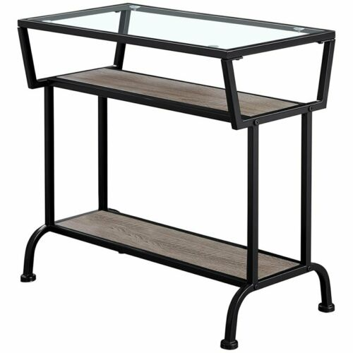 """Details about  /Monarch 12/"""" Glass Top Accent End Table in Dark Taupe and Black"""
