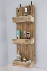 Image Is Loading Rustic Bathroom Shelves Made From Reclaimed Pallet Wood