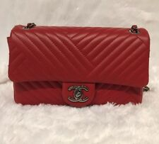 Chanel Lambskin Flap Bag In Red