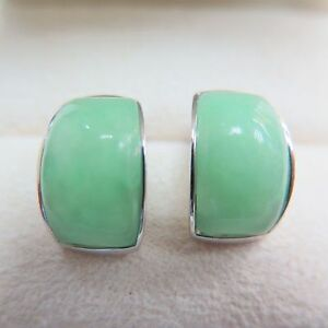 New-Pure-S925-Sterling-Silver-Green-Jade-Jadeite-Women-Smooth-Stud-Earrings