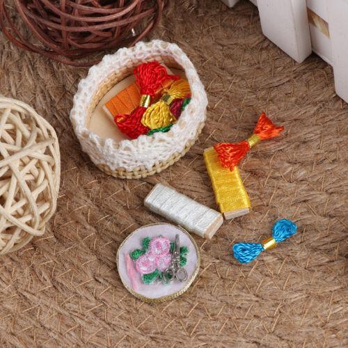 1:12 Dollhouse mini embroidery tools set simulation sewing scissors thread mo ac