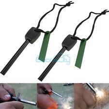 2 Survival Magnesium Flint Stone Fire Starter Emergency Lighter Kit For Camping