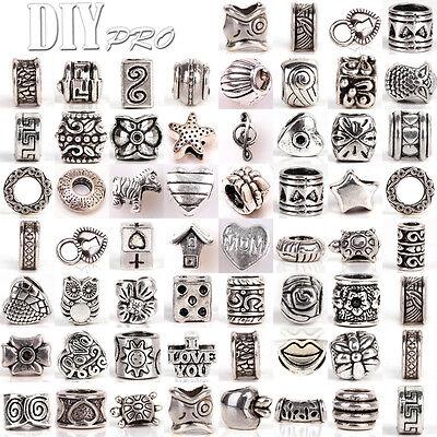 Lot Mixed Handmade Tibetan Silver Beads Fit European Charm Bracelet Murano Daisy