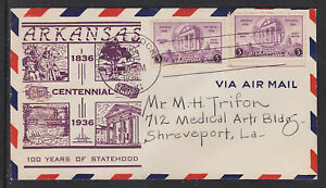 US-Sc-782-FDC-1936-3c-Arkansas-Centennial-Cacheted