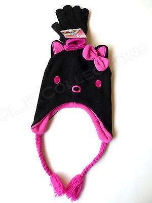 HELLO KITTY Black Winter Laplander Hat & Gloves Hot Pink Lining Child OSFM NWT