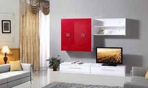 Mobile soggiorno parete attrezzata mdf bianco rosso moderna