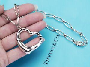 Tiffany-amp-Co-Elsa-Peretti-grande-de-plata-esterlina-corazon-abierto-Oval-Enlace-collar