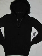 New Womens Fox Racing Black Fur Ribbed Hoodie Zip Up Jacket Size Extra Small XS