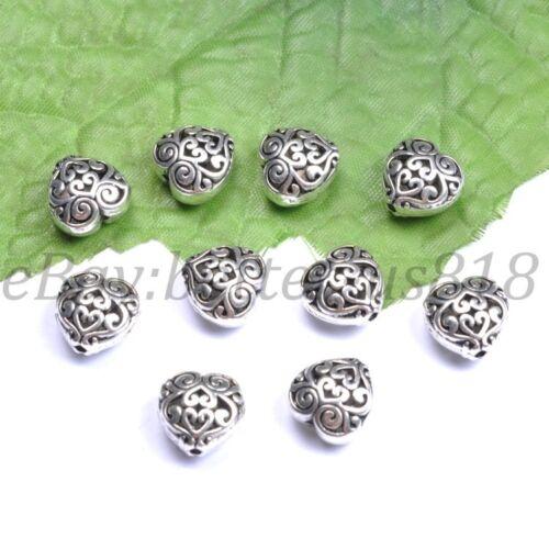10Pcs plata tibetana en forma de corazón hueco encantos Espaciador Perlas 13X13MM A23