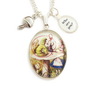 ALICE-IN-WONDERLAND-necklace-Caterpillar-mushroom-charm-silver-cheshire-cat