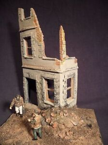 1-35-Scale-WW2-Caen-Ruined-house-model-kit-Military-diorama-accessory