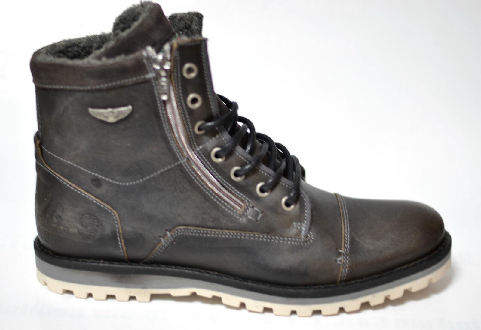 BULLBOXER Herren Herren BULLBOXER Schuhe Stiefel Stiefel grau Leder Neu mode 09154a