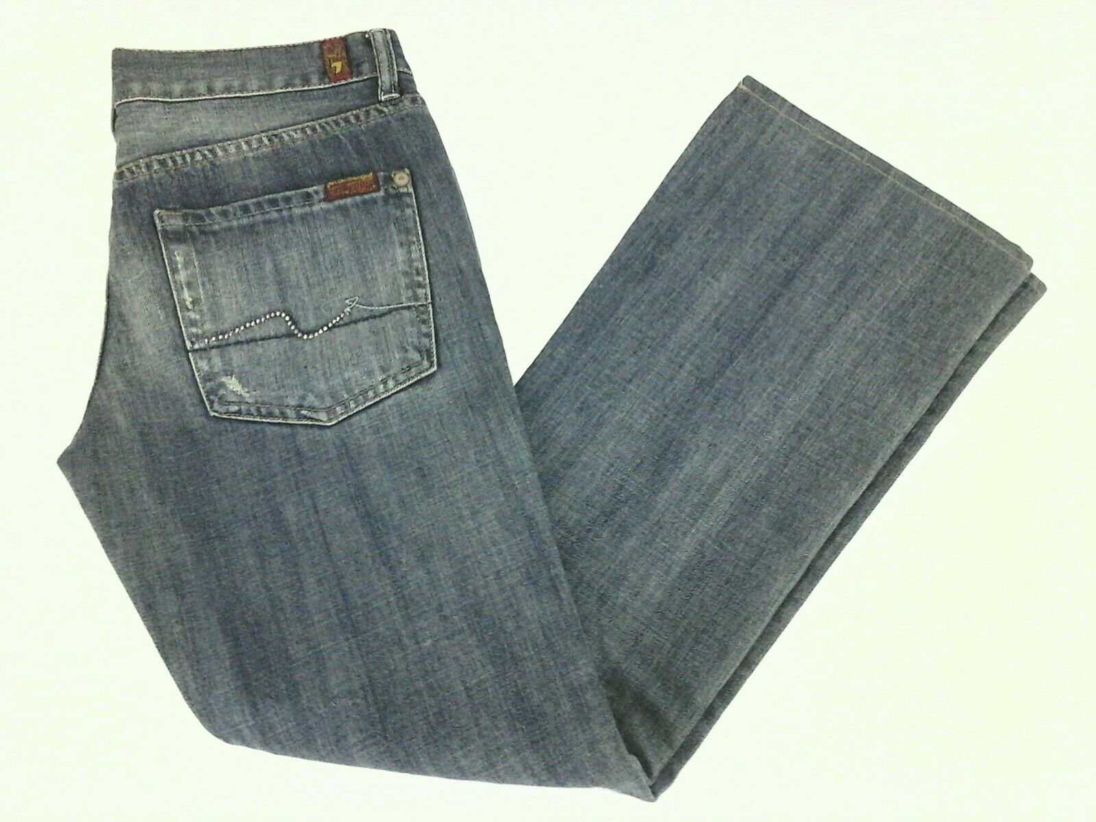SEVEN 7 FOR ALL MANKIND Jeans FLARE Distressed bluee Denim STUDS Womens 28